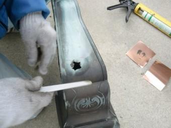 岸和田市東大路町の和瓦の屋根葺替えで銅板水切りの設置と樋修理