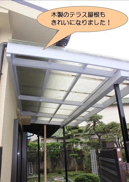 泉北郡忠岡町で木製のテラス屋根塗装