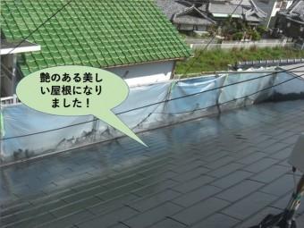 阪南市の屋根が艶のある美しい屋根になりました