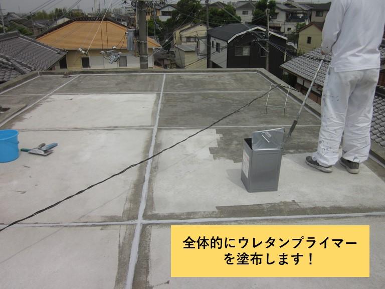 和泉市の陸屋根全体にウレタンプライマーを塗布