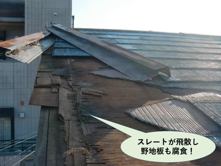 岸和田市のスレートが飛散し野地板も腐食