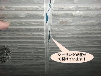 貝塚市の外壁のシーリングの肉痩せ