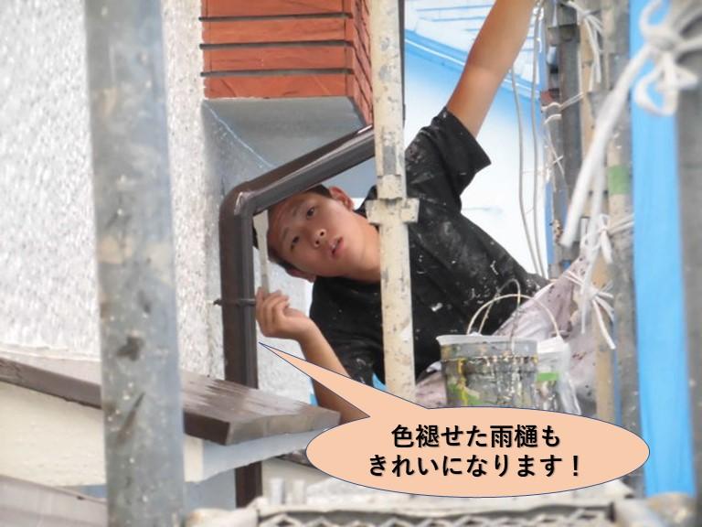 岸和田市の色褪せた雨樋もきれいになります