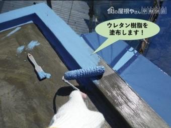 泉佐野市の陸屋根にウレタン樹脂を塗布します