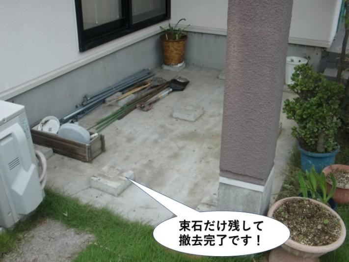 熊取町のウッドデッキを束石だけ残して撤去完了