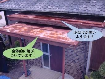 泉北郡忠岡町の玄関屋根の状況