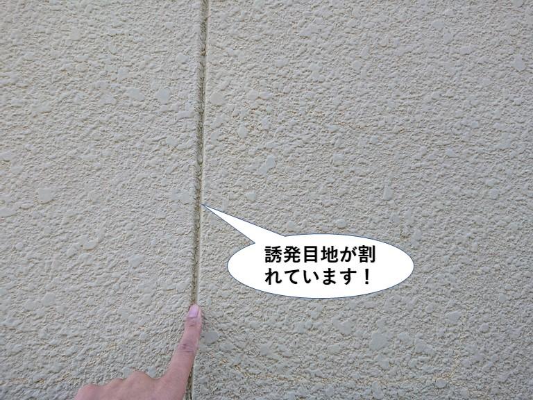 泉大津市の誘発目地が割れています