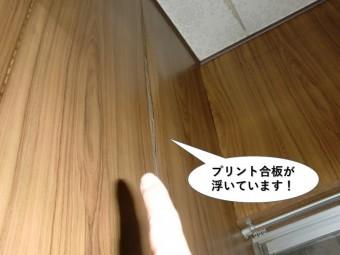 泉佐野市のプリント合板が浮いています