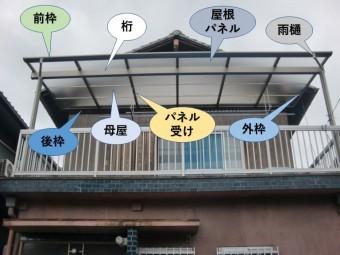 貝塚市のテラス屋根の各名称
