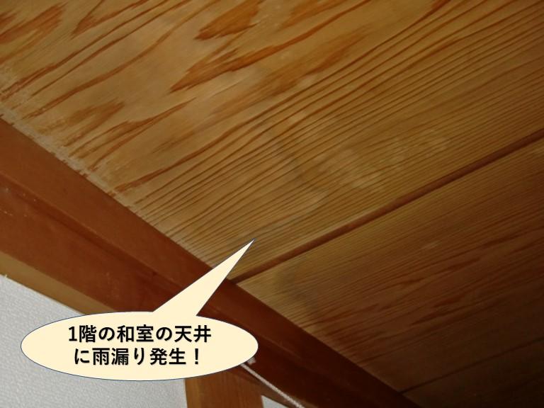 岸和田市の1階の和室の天井に雨漏り