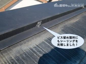 熊取町の棟板金のビス留め箇所にもシーリング充填