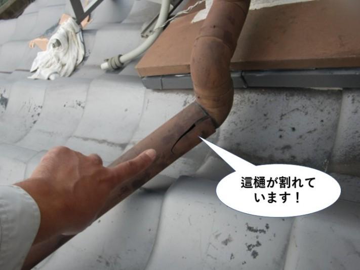 岸和田市の這樋が割れています