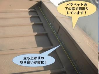 岸和田市のパラペットの立ち上がりの取り合いが劣化