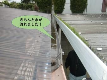 阪南市のカーポートの雨樋がきちんと水が流れました