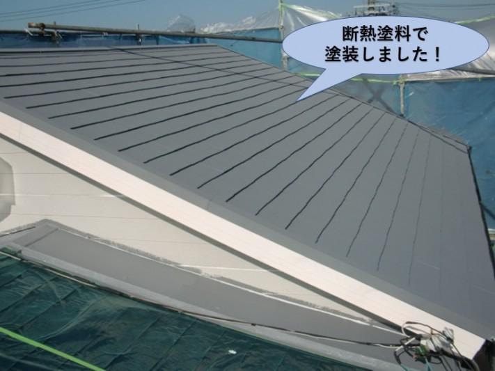 岸和田市の屋根を断熱塗料で塗装完了