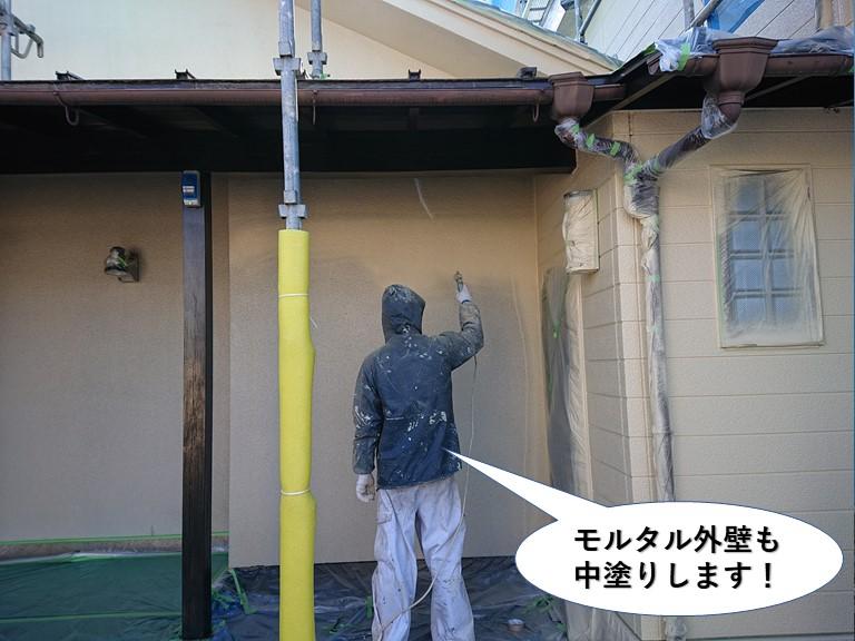 和泉市のモルタル外壁も中塗りします