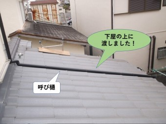 岸和田市の呼び樋を下屋の上に渡しました