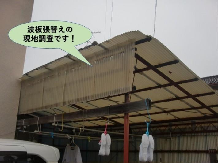 岸和田市の波板張替えの現地調査