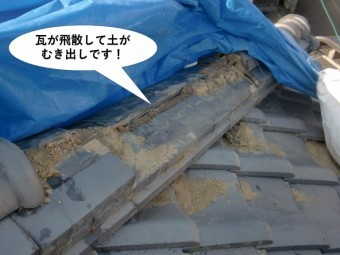 忠岡町の瓦が飛散して土がむき出しです