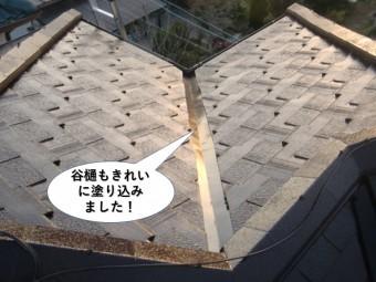 忠岡町の屋根の谷樋もきれいに塗り込みました