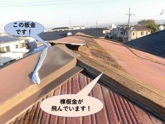 泉大津市の棟板金が飛んでいます!