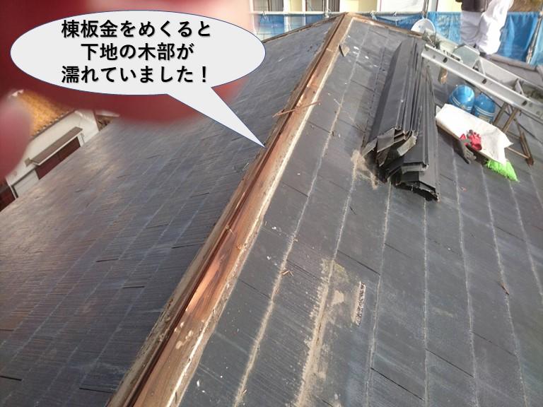 岸和田市の屋根の棟板金をめくると下地の木部が濡れていました!