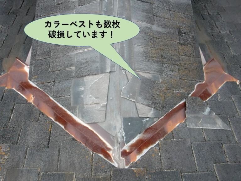 和泉市のカラーベストも数枚破損しています