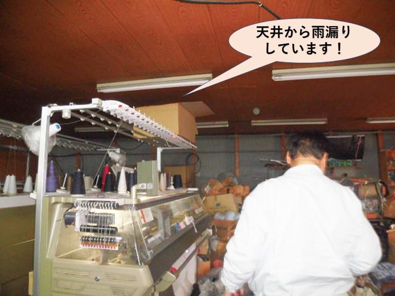 岸和田市の倉庫の天井から雨漏り