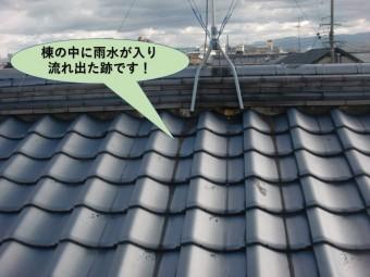 岸和田市の棟の中に雨水が入った跡です