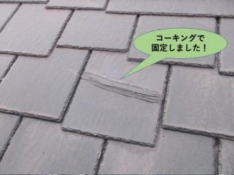 阪南市の割れている瓦もコーキングで固定しました!