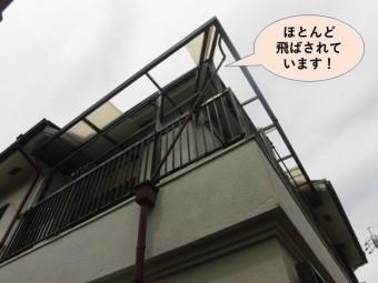 岸和田市上松町のベランダの飛んだ波板