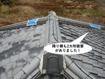 岸和田市の屋根の降り棟も2カ所被害がありました
