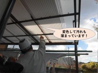 岸和田市の波板が変色して汚れも溜まっています