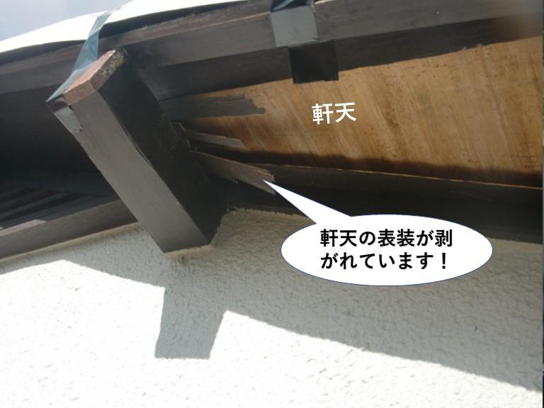 和泉市の軒天の表装が剥がれています