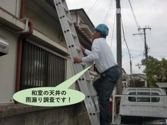 岸和田市の和室の天井の雨漏り調査