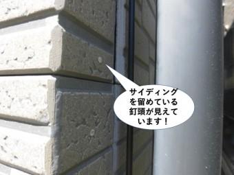 忠岡町のサイディングを留めている釘頭が見えています