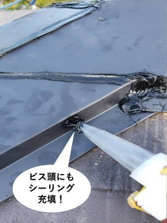 岸和田市の板金を固定しているビス頭にもシーリング充填