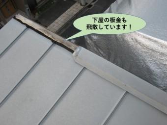 貝塚市の下屋の板金も飛散