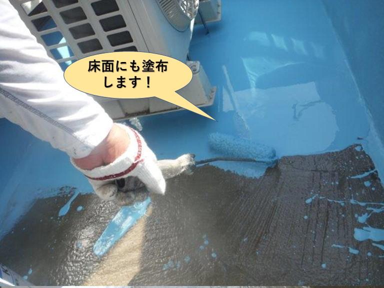 岸和田市のベランダの床面にもウレタン樹脂を塗布