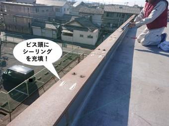 岸和田市の笠木を固定したビス頭にシーリングを充填