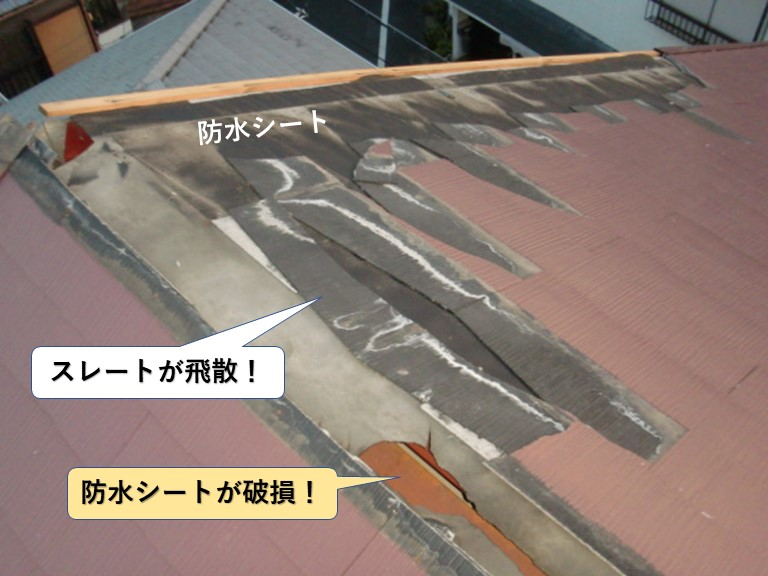 岸和田市のスレートが飛散