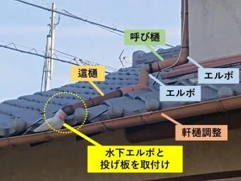 貝塚市で軒樋を交換して水下エルボと投げ板を取付け