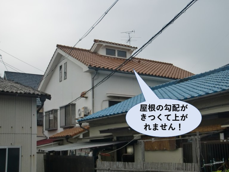 和泉市の屋根の勾配がきつくて上がれません