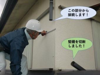 岸和田市の竪樋を切断