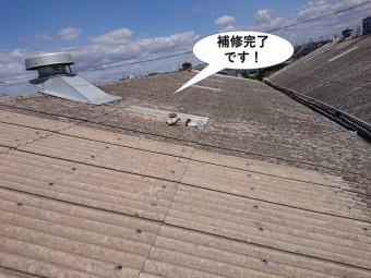 和泉市の倉庫の屋根の補修完了です