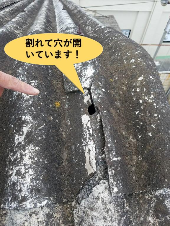 和泉市の工場のスレート屋根が割れて穴が開いています