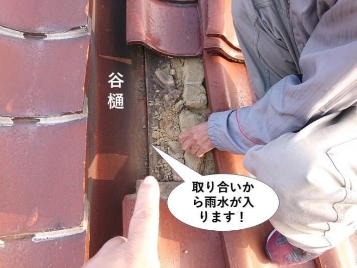 熊取町の谷樋の取り合いから雨水が入ります