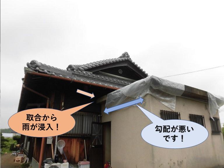 岸和田市包近町の増築部の屋根の勾配