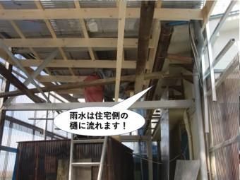岸和田市の雨水は住宅側の樋に流れます