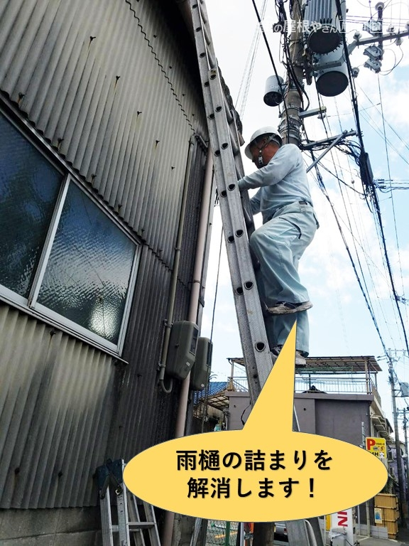 和泉市の工場の雨樋の詰まりを解消します